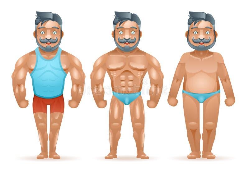 Vorher nach lokalisierter Karikatur 3d des dicken Mannes des Sportgewichtsverlustbodybuilders muskulöse glückliche Charaktere ent stock abbildung