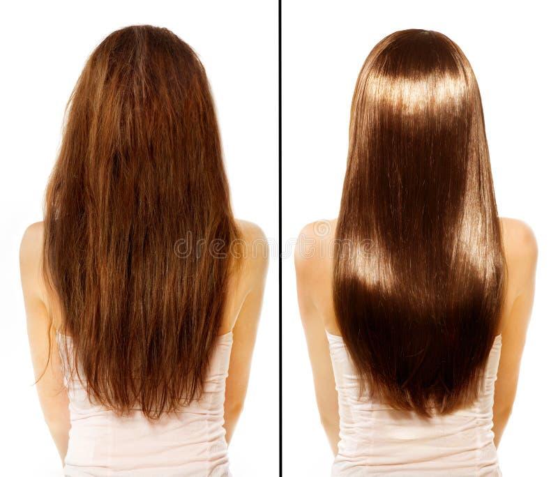 Vorher und nachher. Schädigendes Haar Treatmen lizenzfreies stockbild