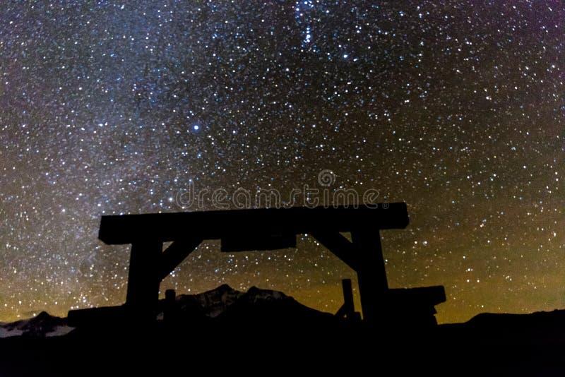 Vorige van de Dollarpoort en Melkweg Sterrige Nacht, Hastings Mesa, Ridg stock afbeeldingen