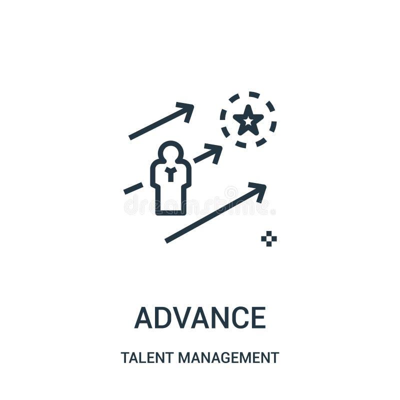 Vorikonenvektor von der Talentmanagementsammlung Dünne Linie Fortschrittsentwurfsikonen-Vektorillustration lizenzfreie abbildung