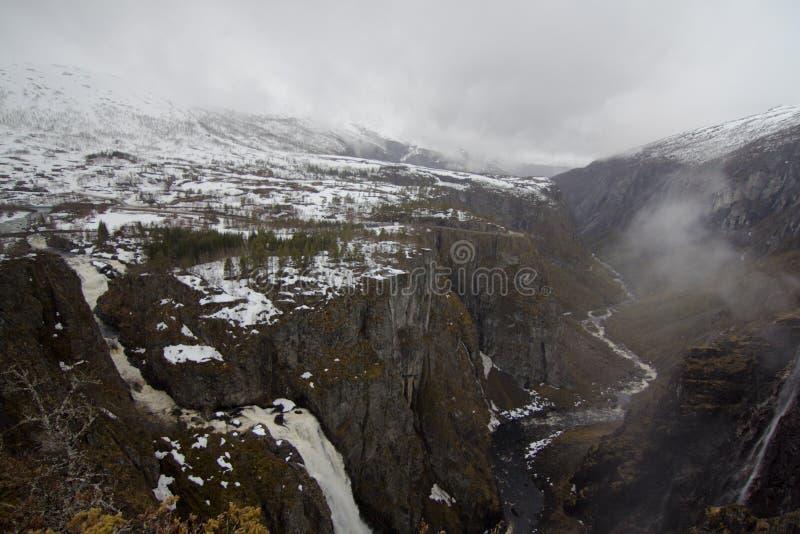 Voringfossen waterfall in Norway stock photography