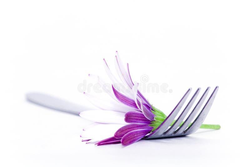 Vork en bloem stock foto's