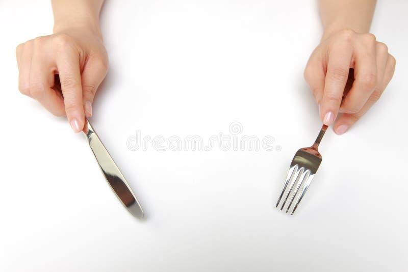 Vork en een mes stock afbeeldingen