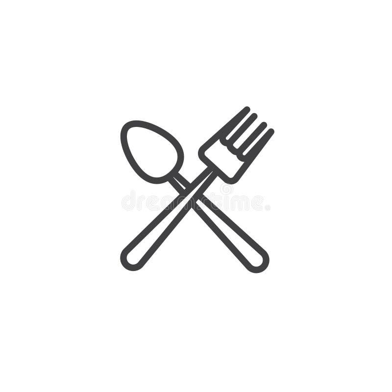 Vork en lepel gekruist lijnpictogram stock illustratie