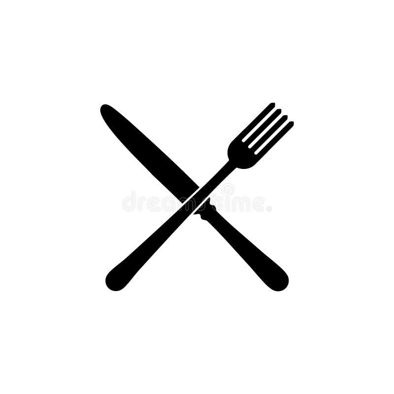 Vork en messenrestaurantpictogram stock illustratie