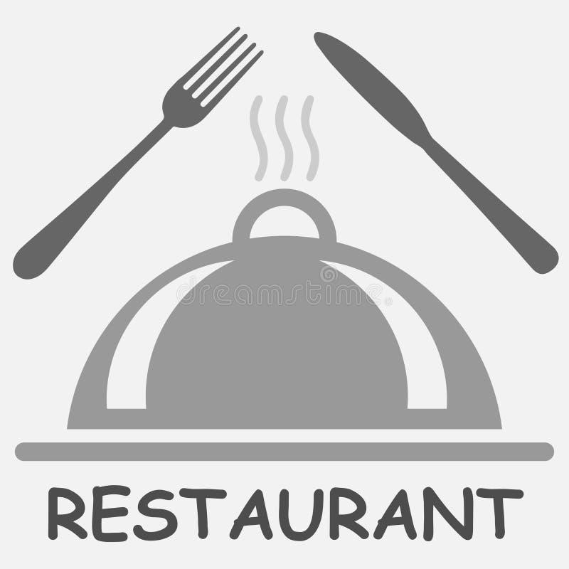 Vork, messen, braadpan en restauranttekst vector illustratie