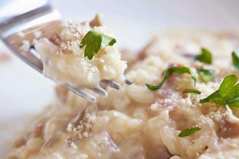 Vork met risotto stock fotografie