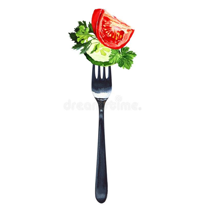 Vork met salade van geïsoleerde groenten, wit stock foto