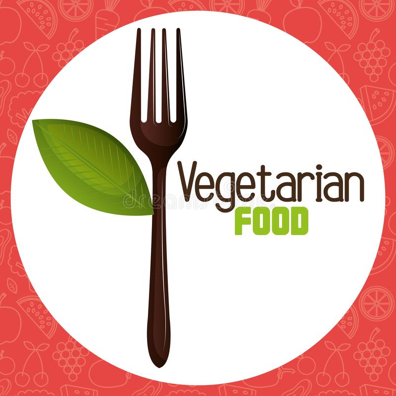 Vorkbestek met blad vegetarisch voedsel royalty-vrije illustratie
