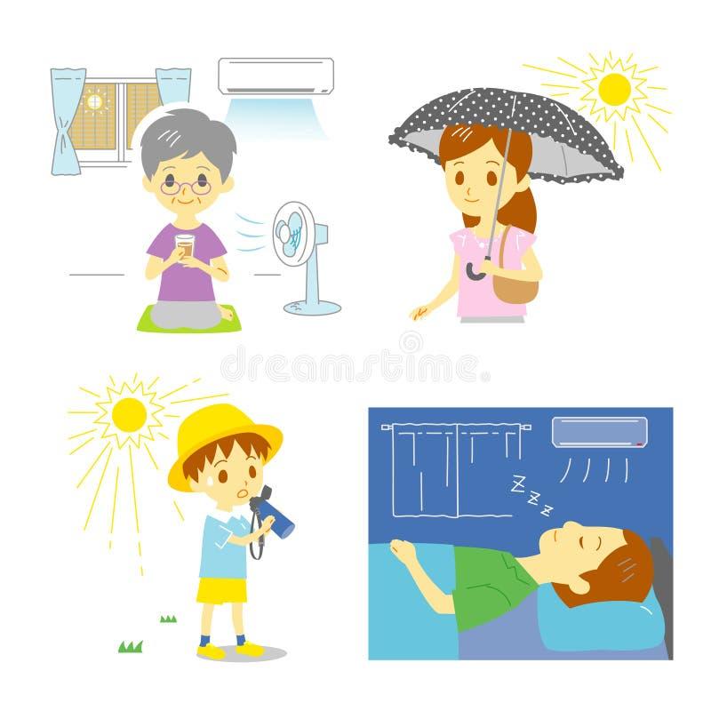 Vorkehrung gegen heißes Wetter vektor abbildung