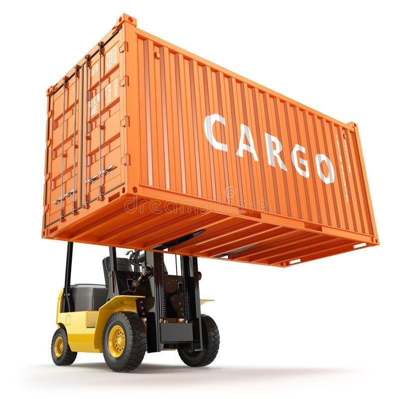 Vorkheftruck die de doos van de vervoer over zeecontainer behandelen royalty-vrije illustratie