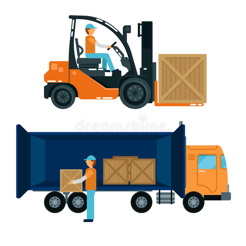 Vorkheftruck met bestuurder De Containers van de arbeiderslading in de Vrachtwagen vector illustratie