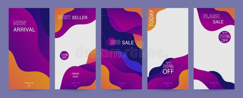 Vorlage für Sozialgeschichten Mit lila, liquiden abstrakten funky Design für Geschäftsgeschichten, Fotografen, Blogger lizenzfreie abbildung