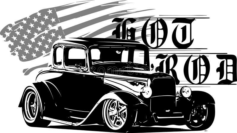 Vorlagen, lauter und schneller laufende Ausrüstung der Klassiker des beheizten Stabes, hotrod, Auto der beheizten Stäbe, alte Sch stock abbildung