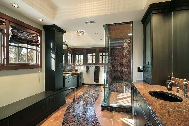 Vorlagenbad im Luxuxhaus stockbild