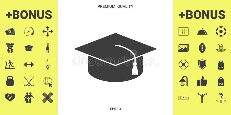 Vorlagenkappe für Absolvent, quadratische akademische Kappe, Staffelungskappenikone lizenzfreie abbildung