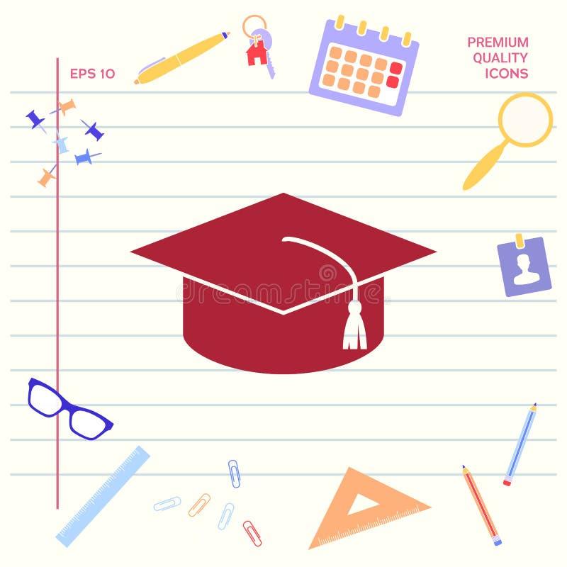 Vorlagenkappe für Absolvent, quadratische akademische Kappe, Staffelungskappenikone Grafische Elemente für Ihr Design stock abbildung