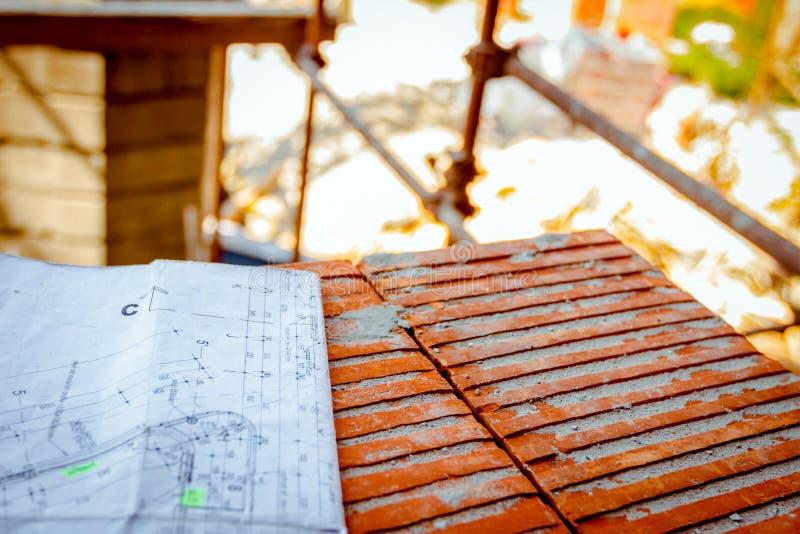 Vorlagenlandschaft, Planplan an der Baustelle lizenzfreies stockbild