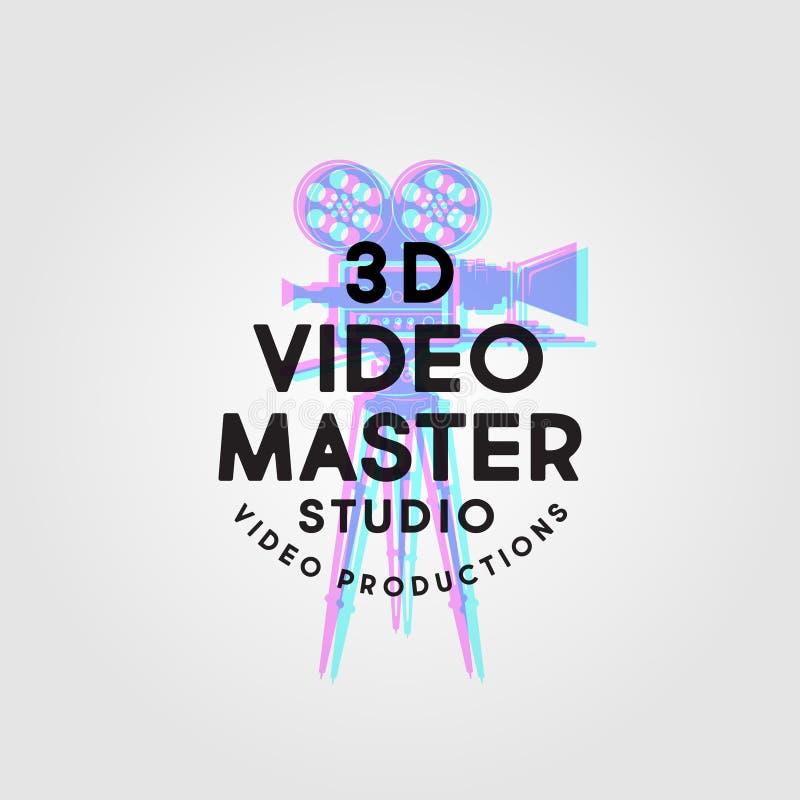 Vorlagenlogo des Videos 3D Videoproduktionsstudioemblem Störschub des Symbols der Kamera mit Buchstaben vektor abbildung