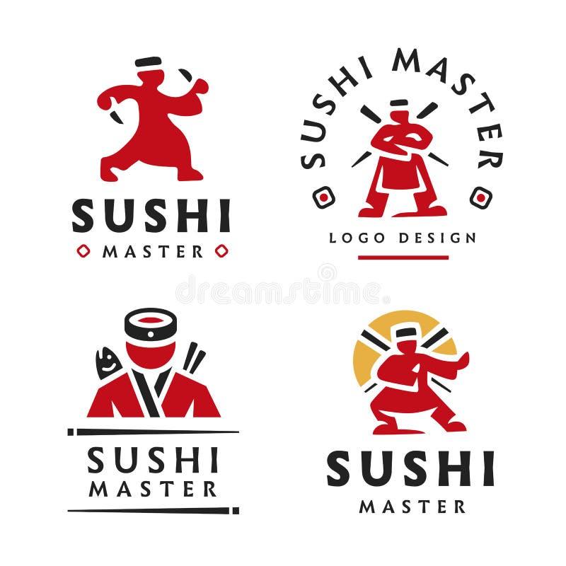 Vorlagensushi-Logoillustration auf weißem Hintergrund lizenzfreie abbildung