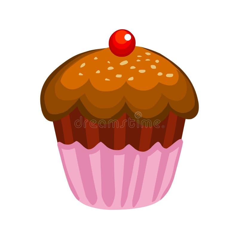Vorm cake tot een kom Vectorkopcake Het pictogram van de kopcake vector illustratie