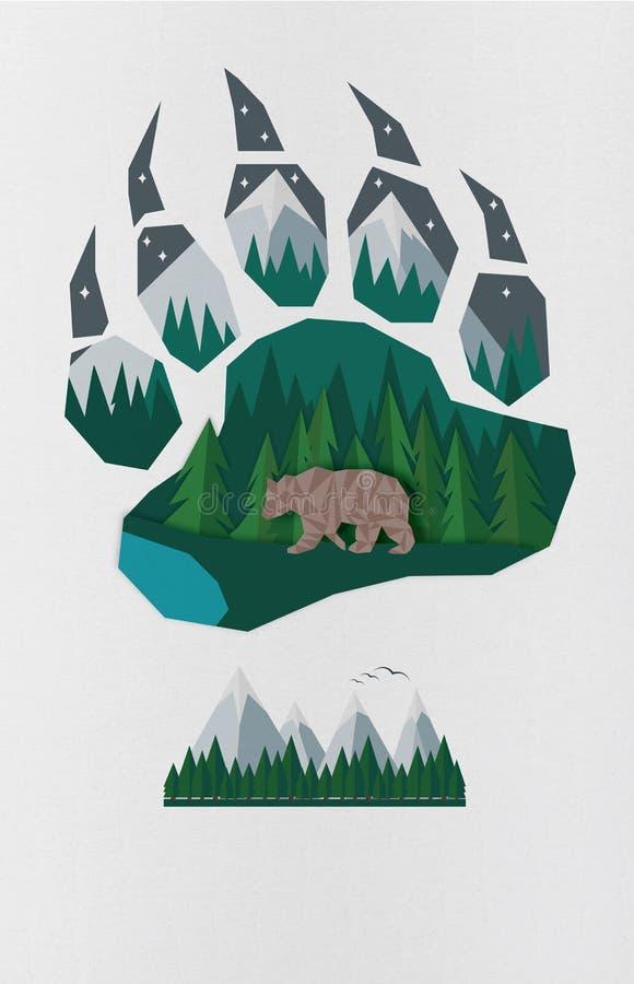 Vorm van de poot van de beer en embleemberg stock illustratie