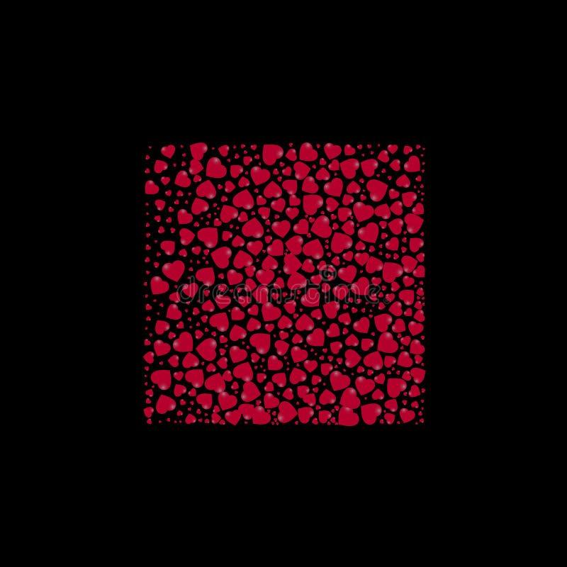 Vorm van een vierkant met harten op een zwarte achtergrond wordt gevuld die Vector illustratie stock illustratie