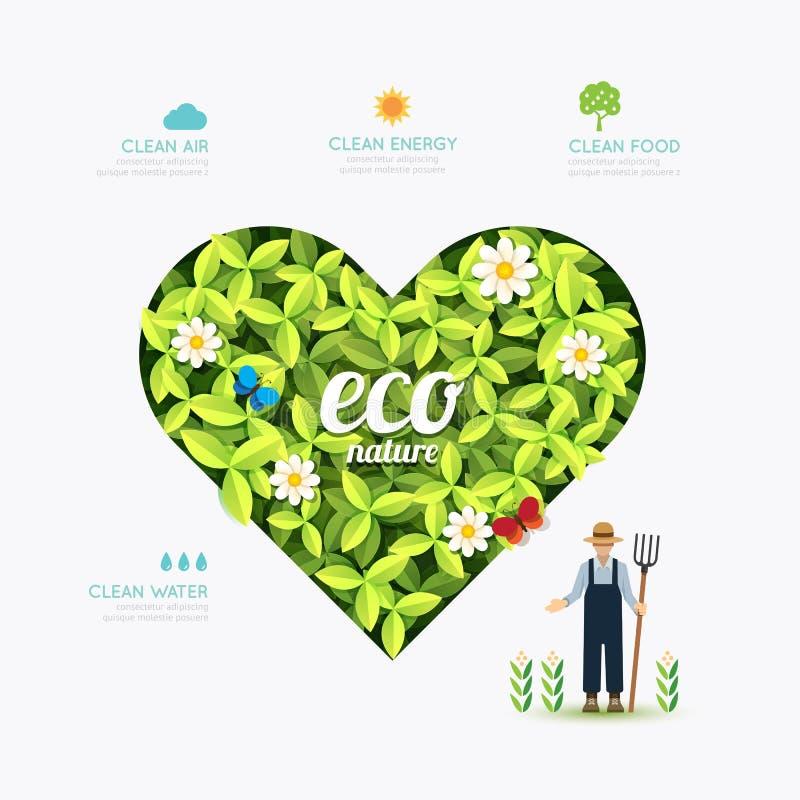 Vorm van het ecologie de infographic groene hart met landbouwer royalty-vrije illustratie