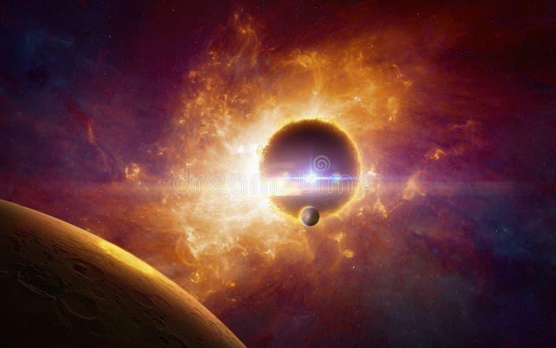 Vorm van het Supermassive de buitenaardse leven in donkerrode kosmische ruimte, vector illustratie
