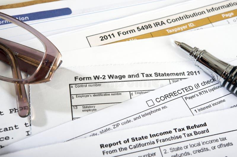 Vorm w-2 Verklaring 2011 van het Loon en van de Belasting royalty-vrije stock afbeelding