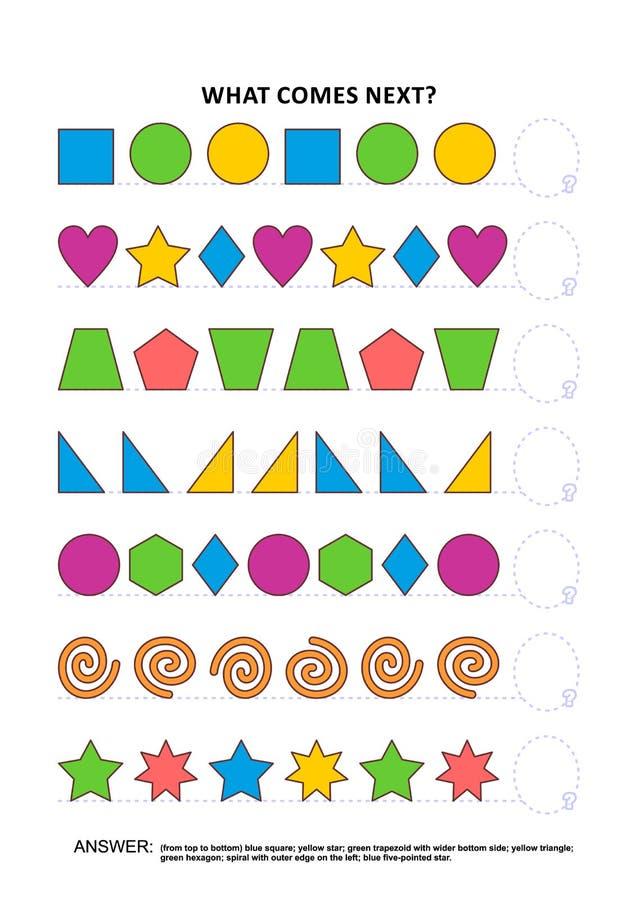 Vormen en kleuren onderwijslogicaspel - opeenvolgende patroonerkenning royalty-vrije illustratie