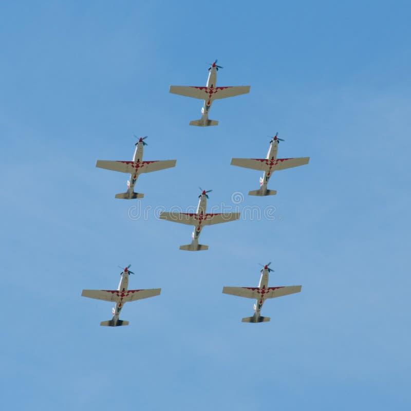 Vorming van zes vliegtuigen royalty-vrije stock foto