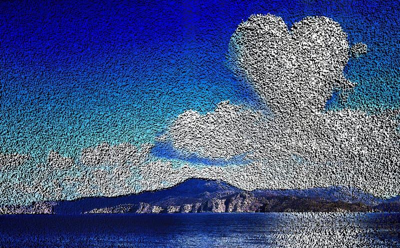 Vormsamenstelling, blok, geometrische structuur landschap met bergen op de achtergrond van het overzees, een wolk in vector illustratie