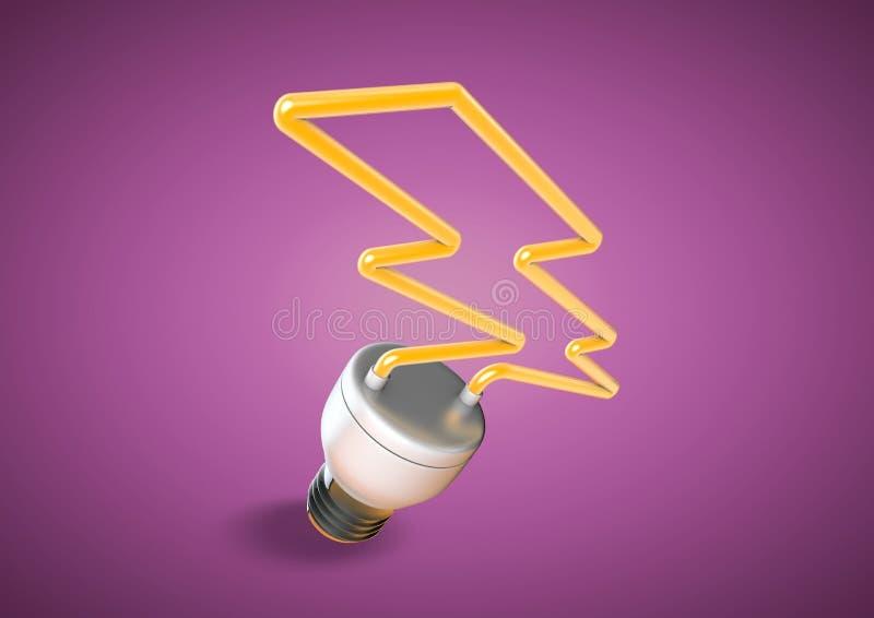 Vormt de gloeilamp van de energiespaarder vorm van verlichtingsbout op heldere purpere achtergrond royalty-vrije illustratie