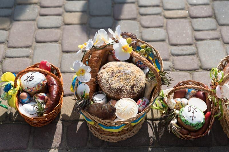 Voroblevychi village, Drohobych district, Ukraine - April 07, 2018: Easter baskets with food stock photo