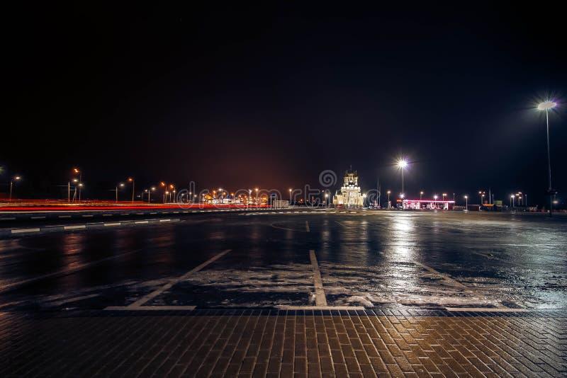 Voronezh. Night. City. glaze. ice. stock image