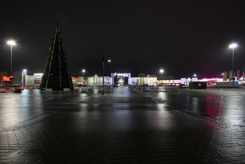 Voronezh. Night. City. glaze. ice. stock photos