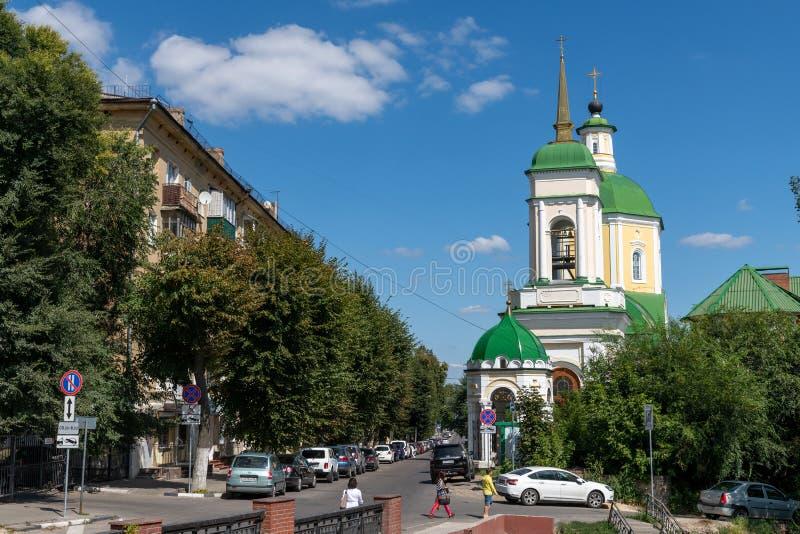 Voronezh, Rússia - 23 de agosto Igreja da ressurreição na rua de Ordzhonikidze fotografia de stock