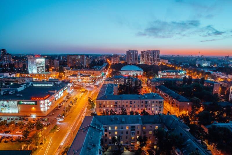 Voronezh, Rusland - September 17, 2017: Luchtnachtmening van Voronezh de stad in stock foto's