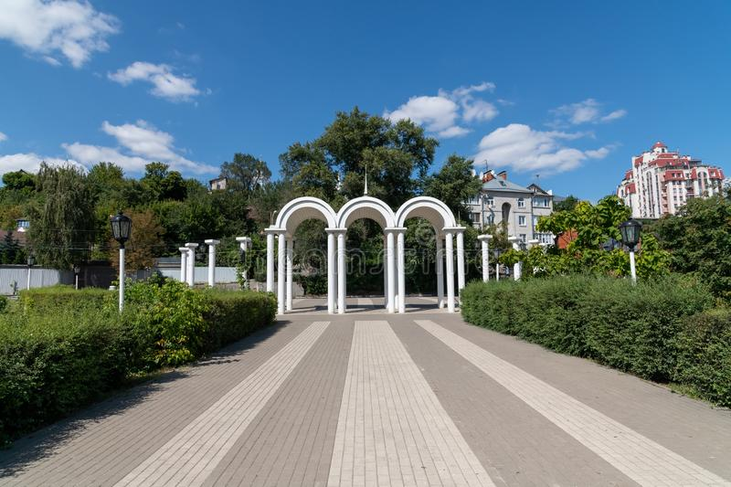 Voronezh, Russia - August 23. 2018 Arches at the entrance on Admiralteiskaya Embankment royalty free stock photography