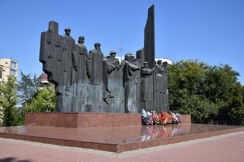 Voronezh, Russia - August 23. 2018. Memorial complex on Victory Square in memory of World War II, sculptor F. Sushkov royalty free stock photos