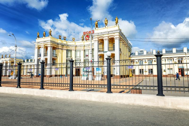 Voronezh, Russia, 09/24/2016: The building of the railway station in the city center. Horizontal royalty free stock image