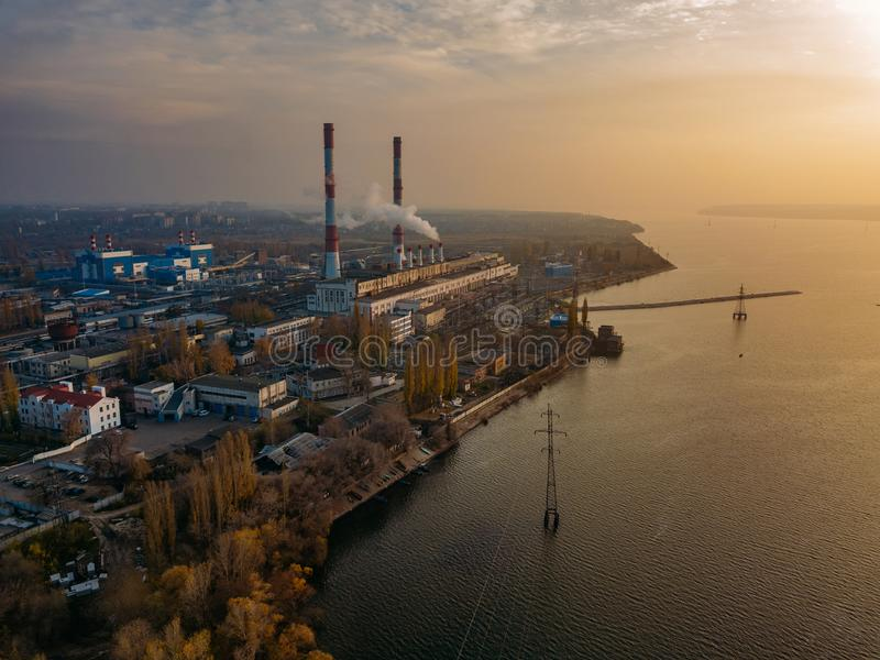 Voronezh thermal power plant at evening sunset. Aerial view from drone of large industrial area royalty free stock photo
