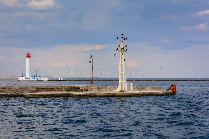 Vorontsov-Leuchtturm in Odessa, Ukraine Meerblick auf Schwarzem Meer stockfotos