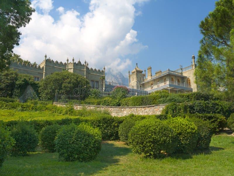 Vorontsov Palace. Bushes and mountains, Crimea royalty free stock photos