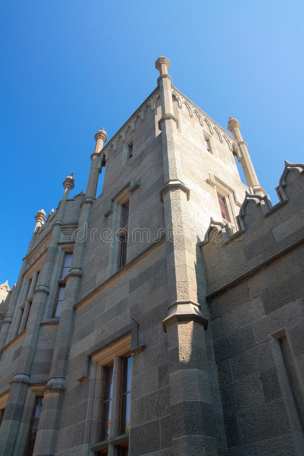 Vorontsov Palace in Crimea. Vorontsov palace in Alupka Crimea, constructed from diabase, exterior royalty free stock photos