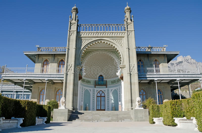 Vorontsov Palace in the Crimea. Southern facade of the Vorontsov Palace in Alupka,Crimea stock image