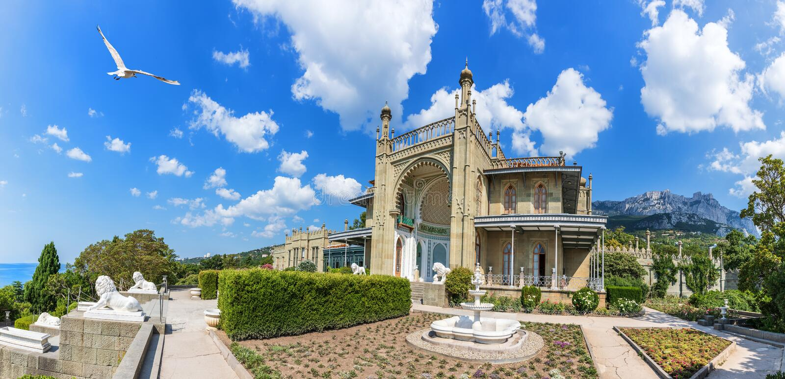 Vorontsov palace in Crimea, Southern facade panoramic view.  stock images