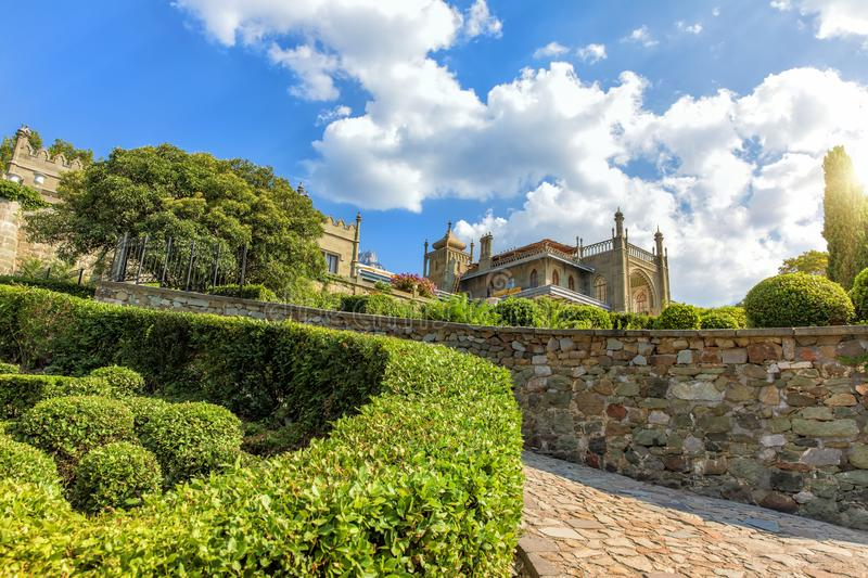 Vorontsov Palace in Crimea, view of the beautiful park.  stock photo