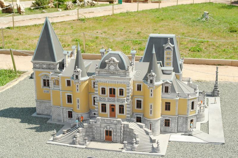 Vorontsov Palace in miniature. Republic of Crimea, Russia, city of Alupka, Palace highway, 10. Bakhchisarai miniature Park. Vorontsov Palace in miniature stock photography